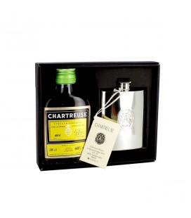 CHARTREUSE - Coffret Chartreuse Jaune + flasque en étain