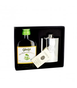CHARTREUSE - Coffret Génépi + flasque en étain