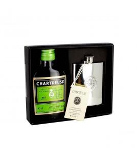 CHARTREUSE - Coffret Chartreuse Verte + flasque en étain