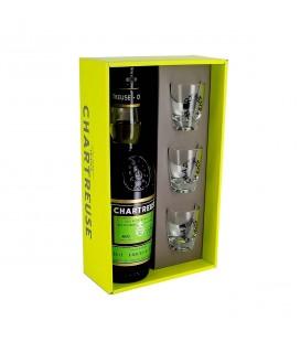 CHARTREUSE - Coffret Chartreuse Verte + 3 verres à shots gravés