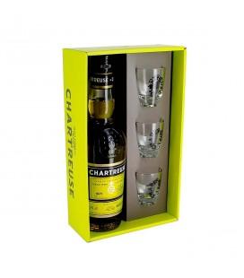 CHARTREUSE - Coffret Chartreuse Jaune + 3 verres à shots gravés