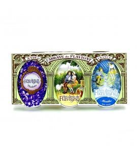 FLAVIGNY - Lot de 3 boîtes de bonbons à l'anis, violette & menthe