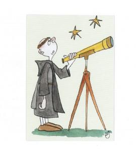 """ABBAYE SAINT-WANDRILLE - Carte - Le frère Astronome (série """"""""Les petits moines"""""""")"""