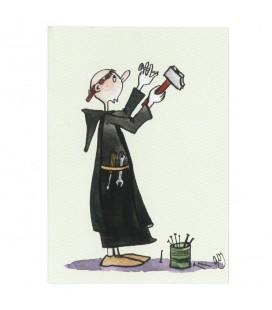 """ABBAYE SAINT-WANDRILLE - Carte - Le frère Bricoleur (série """"""""Les petits moines"""""""")"""